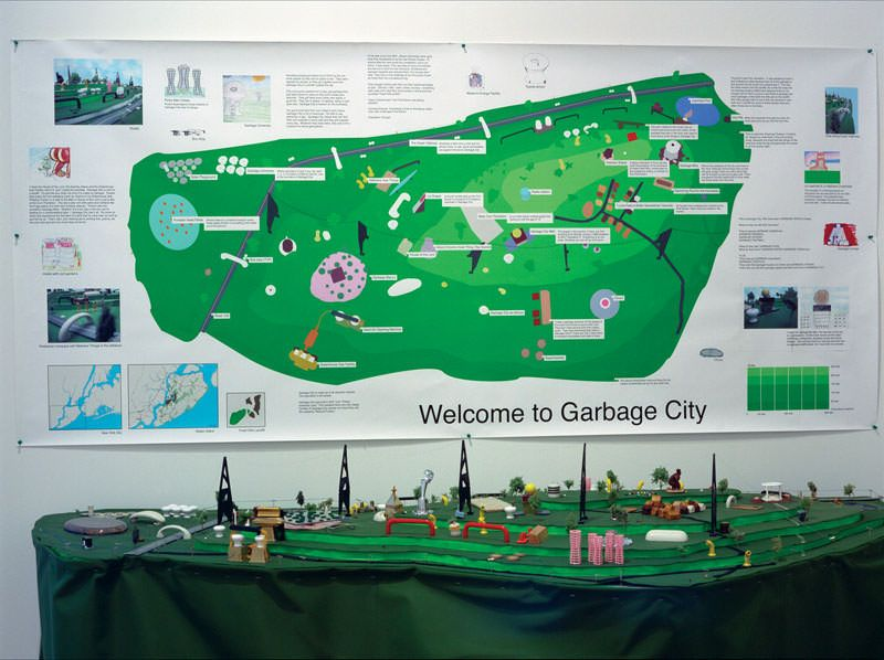 ACVic - Transductores 2010. Carteles y maqueta producida en el proyecto Garbage Problems. New York City, 2002