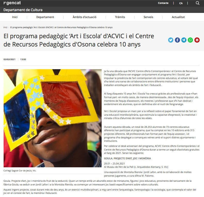 21.01.2021 projecte art i escola 10 gencat cultura